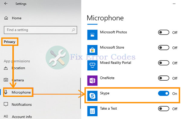 Check if Skype has Mic Permission